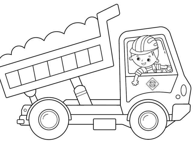 Kleurplaat containerauto